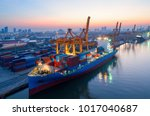 containers yard in port...   Shutterstock . vector #1017040687