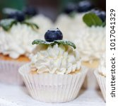 Small photo of ?ake with cream, decorated with blueberries and mint
