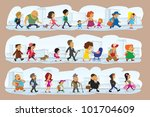 a lot characters on street ... | Shutterstock .eps vector #101704609