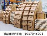 many paper boxes against... | Shutterstock . vector #1017046201