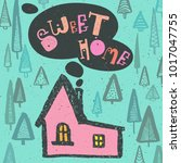 sweet home lettering text with... | Shutterstock .eps vector #1017047755