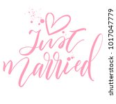 just married with pink heart... | Shutterstock .eps vector #1017047779