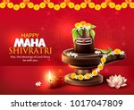 greeting card with lingam and... | Shutterstock .eps vector #1017047809