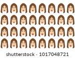 emotions set. businesswoman... | Shutterstock .eps vector #1017048721