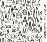 hand drawn houses in forest map ... | Shutterstock .eps vector #1017055984