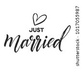 just married graphic heart hand ... | Shutterstock .eps vector #1017055987