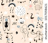 seamless childish pattern with... | Shutterstock .eps vector #1017058621