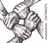 united hands together ink... | Shutterstock .eps vector #1017060271