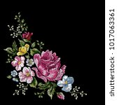 embroidery traditional floral... | Shutterstock .eps vector #1017063361