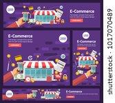 banner set flat design concept... | Shutterstock .eps vector #1017070489