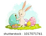 cute rabbit painting easter egg ... | Shutterstock .eps vector #1017071761