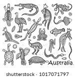 animals drawings aboriginal... | Shutterstock .eps vector #1017071797