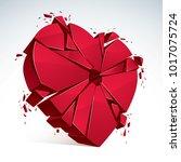 breakup concept of broken heart ... | Shutterstock .eps vector #1017075724