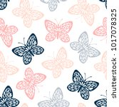 Stock vector seamless pattern with butterflies 1017078325