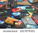pile of colored credit cards... | Shutterstock . vector #1017079351