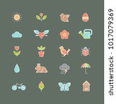 spring icons set. collection of ... | Shutterstock .eps vector #1017079369
