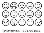 fifteen smilies  set smiley... | Shutterstock .eps vector #1017081511