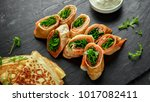 crepes pancakes rolls with... | Shutterstock . vector #1017082411