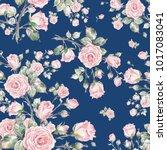 watercolor seamless rose... | Shutterstock . vector #1017083041