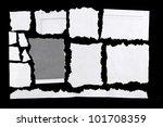 torn pieces of paper on black... | Shutterstock . vector #101708359