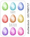 happy easter greeting card.set... | Shutterstock .eps vector #1017085717