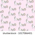 seamless baby pattern unicorn ... | Shutterstock . vector #1017086401
