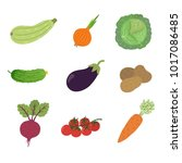 vector vegetables icons set in... | Shutterstock .eps vector #1017086485