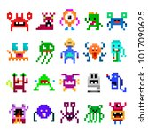 pixel monster set. cute ugly ... | Shutterstock .eps vector #1017090625