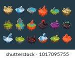 cartoon isometric islands with... | Shutterstock .eps vector #1017095755