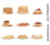 set with various sweet desserts ... | Shutterstock .eps vector #1017096055