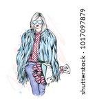 beautiful stylish girl in a fur ...   Shutterstock .eps vector #1017097879
