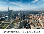 milan skyline and view of porta ... | Shutterstock . vector #1017105115
