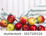 sweet apples on wooden... | Shutterstock . vector #1017105124