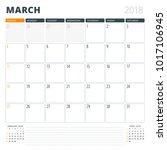 calendar planner for march 2018.... | Shutterstock .eps vector #1017106945