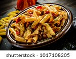 penne with meat  tomato sauce... | Shutterstock . vector #1017108205