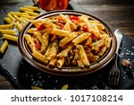 penne with meat  tomato sauce... | Shutterstock . vector #1017108214