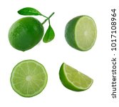 set of limes isolated | Shutterstock . vector #1017108964