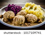 roasted meatballs  mashed... | Shutterstock . vector #1017109741