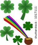 shamrocks  four leaf clover ... | Shutterstock .eps vector #1017111