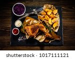 grilled chicken legs with... | Shutterstock . vector #1017111121