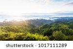 aerial shot   the sun rise with ... | Shutterstock . vector #1017111289