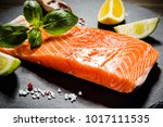 fresh raw salmon fish served on ... | Shutterstock . vector #1017111535