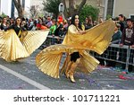 LIMASSOL, CYPRUS - MARCH 6, 2011: Unidentified participants in Egyptian costumes during the carnival parade. - stock photo