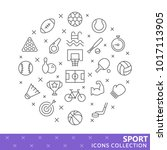 collection of sport thin line... | Shutterstock .eps vector #1017113905
