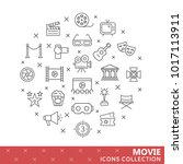 collection of movie thin line... | Shutterstock .eps vector #1017113911