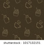 seamless pattern with outline...   Shutterstock .eps vector #1017132151