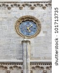 Clock on the Stephansdom cathedral in Vienna - stock photo