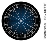 astrology zodiac with natal... | Shutterstock .eps vector #1017139549