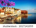 bay of chania at sunny summer... | Shutterstock . vector #1017141055