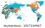 political world map pacific...   Shutterstock .eps vector #1017144967
